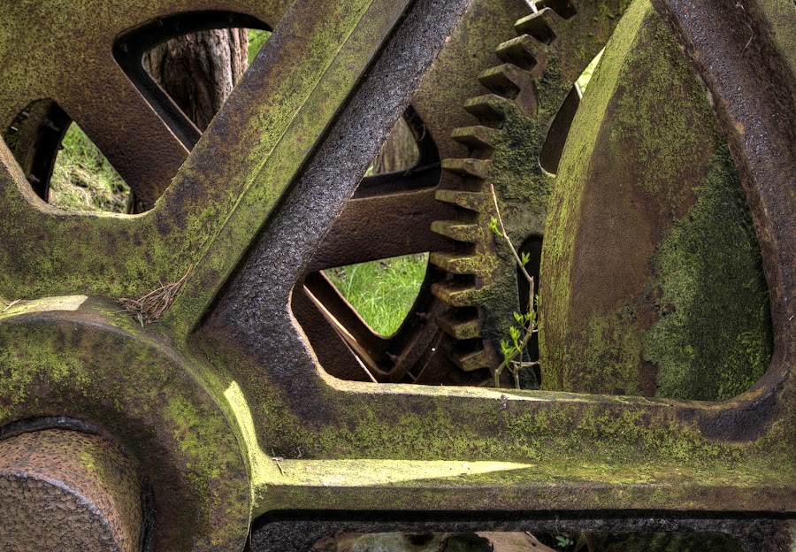 The wheels of fortune by Stephen Crawford - Artistic Objects Industrial Objects ( old mine, stair, machinery, wide angle lens, annbank,  )