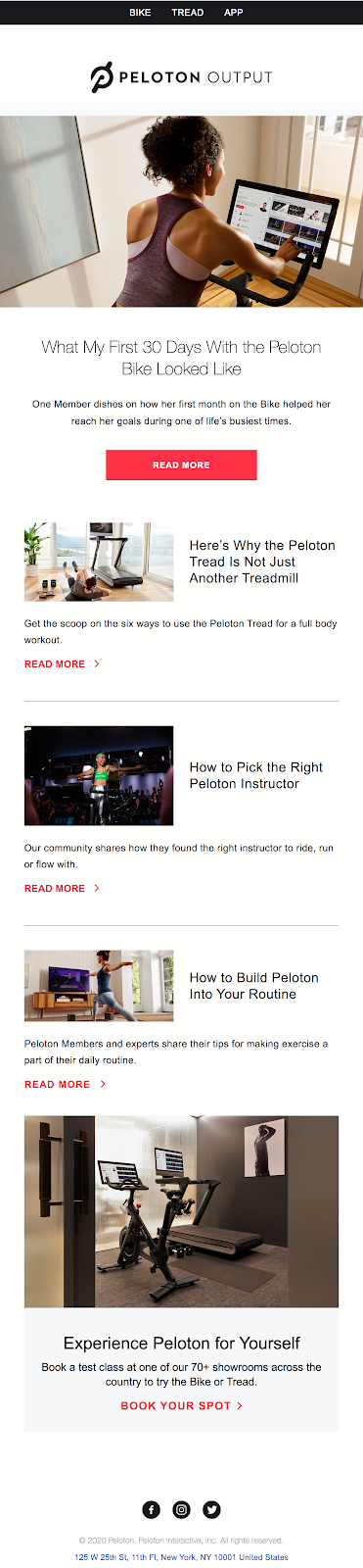 Peloton what my first 30 days looks like email
