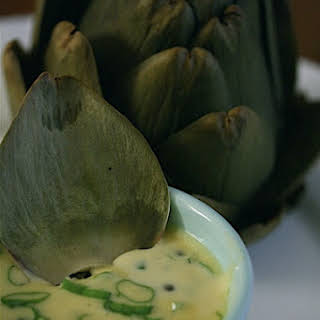 Steamed Artichokes with Caper-Scallion Mayonnaise.