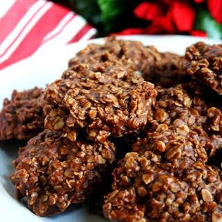 Gluten-Free Vegan Chocolate Peanut Butter Oatmeal No-Bake Cookies.