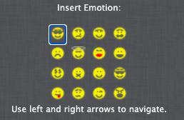 An emoji selection dialog box