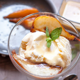Caramelized Pear With Rum Butter Sauce.