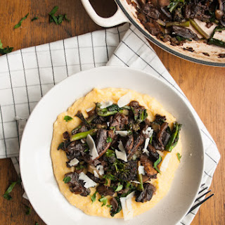 Simple Mushroom and Broccoli Ragoût with Polenta.