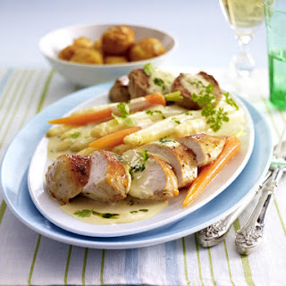 Pork and Chicken Casserole with Spring Vegetables.
