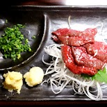 Raw Whale meat in Tokyo in Tokyo, Tokyo, Japan