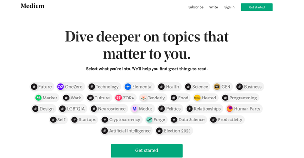 medium online inhaltsveröffentlichung plattform