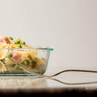 Farfalle with Gorgonzola, Ham and Peas