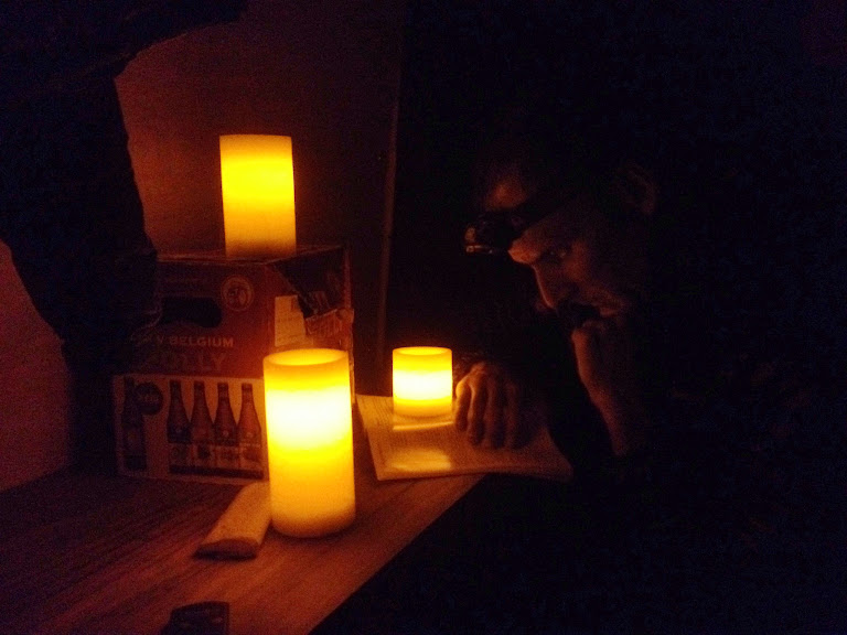 Reading by 'candlelights' in our Sprinter van