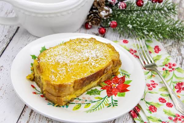 Eggnog French Toast On A Plate.