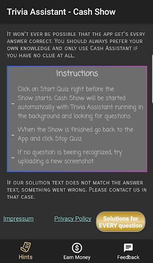 Cash Show Help - Trivia Assistant screenshot 2