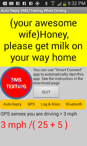 No Texting While Driving SMS