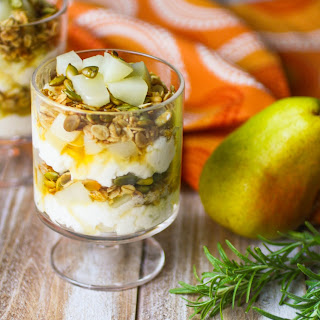 Pear and Ricotta Parfaits with Rosemary-infused Honey.