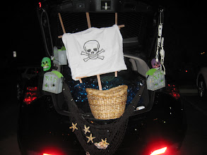 Photo: Skeletons and skulls didn't scare kids away from free candy!