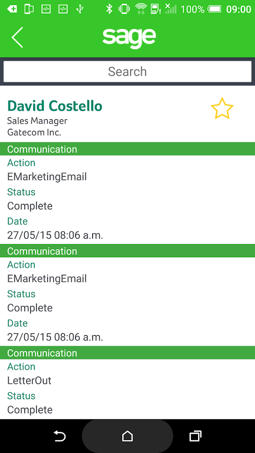 Sage CRM for Android- screenshot