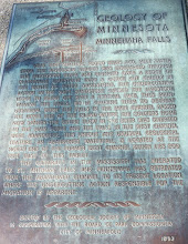 Photo: Plaque explaining the geology of Minnehaha Falls, erected by GSM in 1953. GSM will install a new multi-colored acrylic plaque near the Falls in spring, 2018.