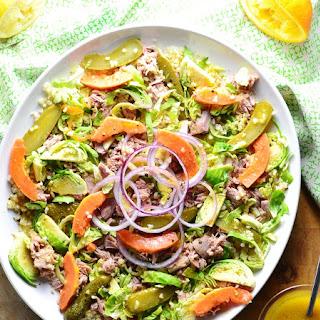 Brussels Sprouts Bulgur Wheat Tuna Salad.