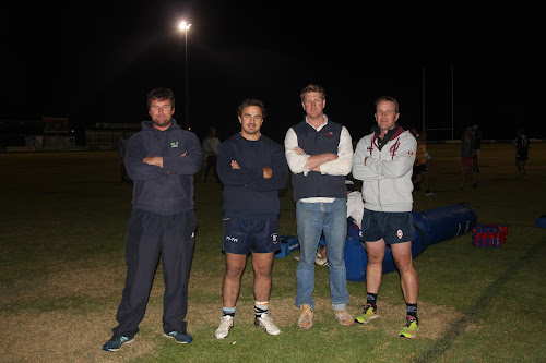 Blue Boars first grade coach Dylan Duncan, first grade captain Matt McDonnell, club captain Mitch Cuell and club president Paul Sloman at training on Tuesday night.