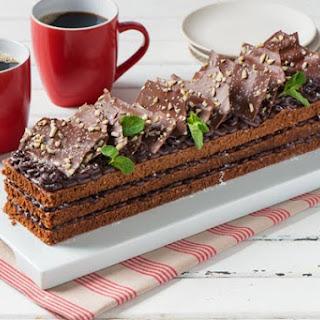 Chocolate Almond Pound Cake with Peppermint Ganache.
