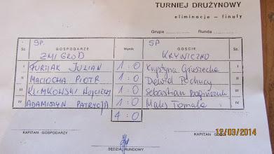 Photo: Protokół z meczu Żmigród - Kryniczno