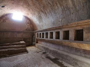 Photo: Notice cubbies for shoes & clothes in Roman baths