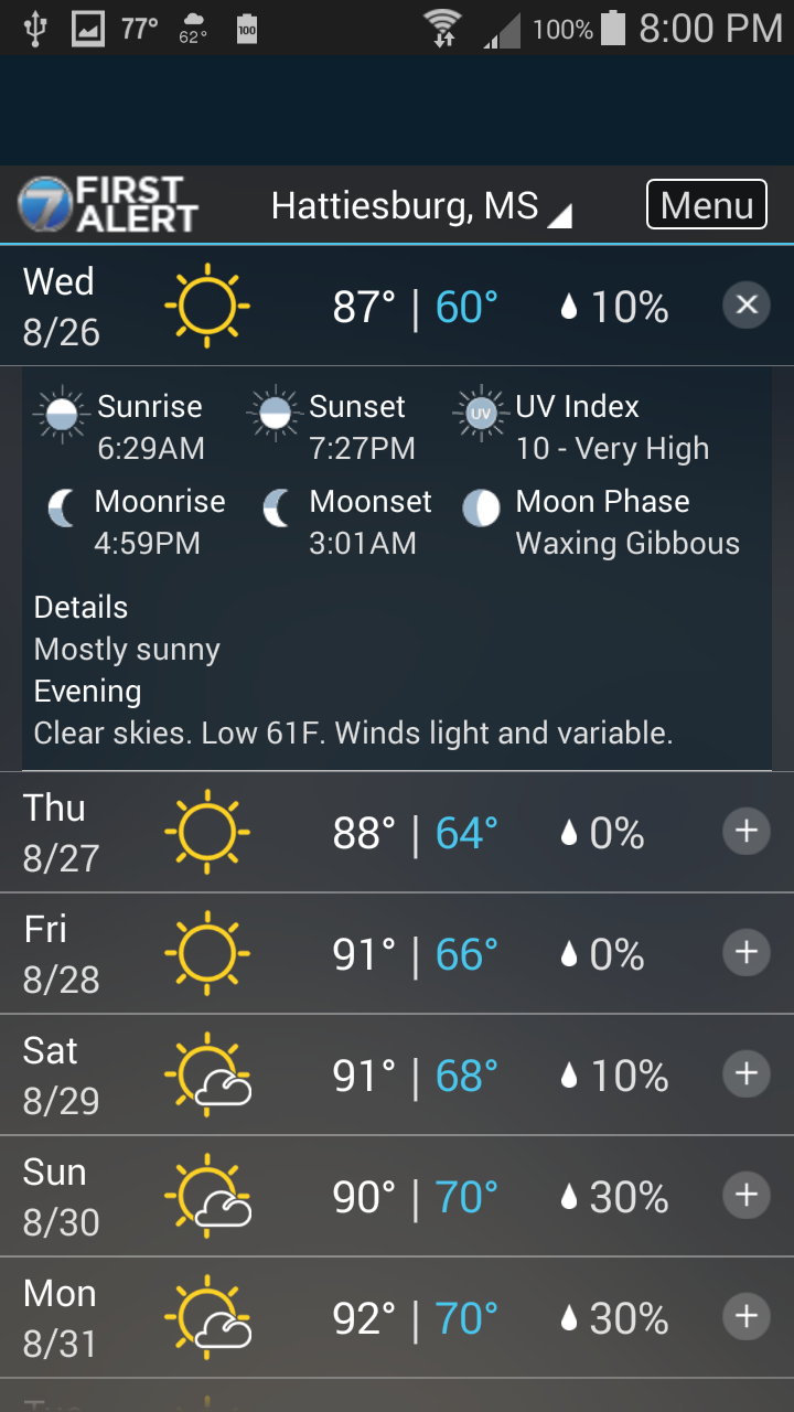 WDAM 7 Hattiesburg Weather (Android) reviews at Android Quality Index