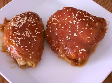 Tonkatsu Glazed Crock Pot Chicken Thighs