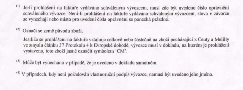 Декларация-инвойс Чехия