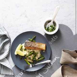 Crispy Salmon with Asparagus and Lemon Risotto