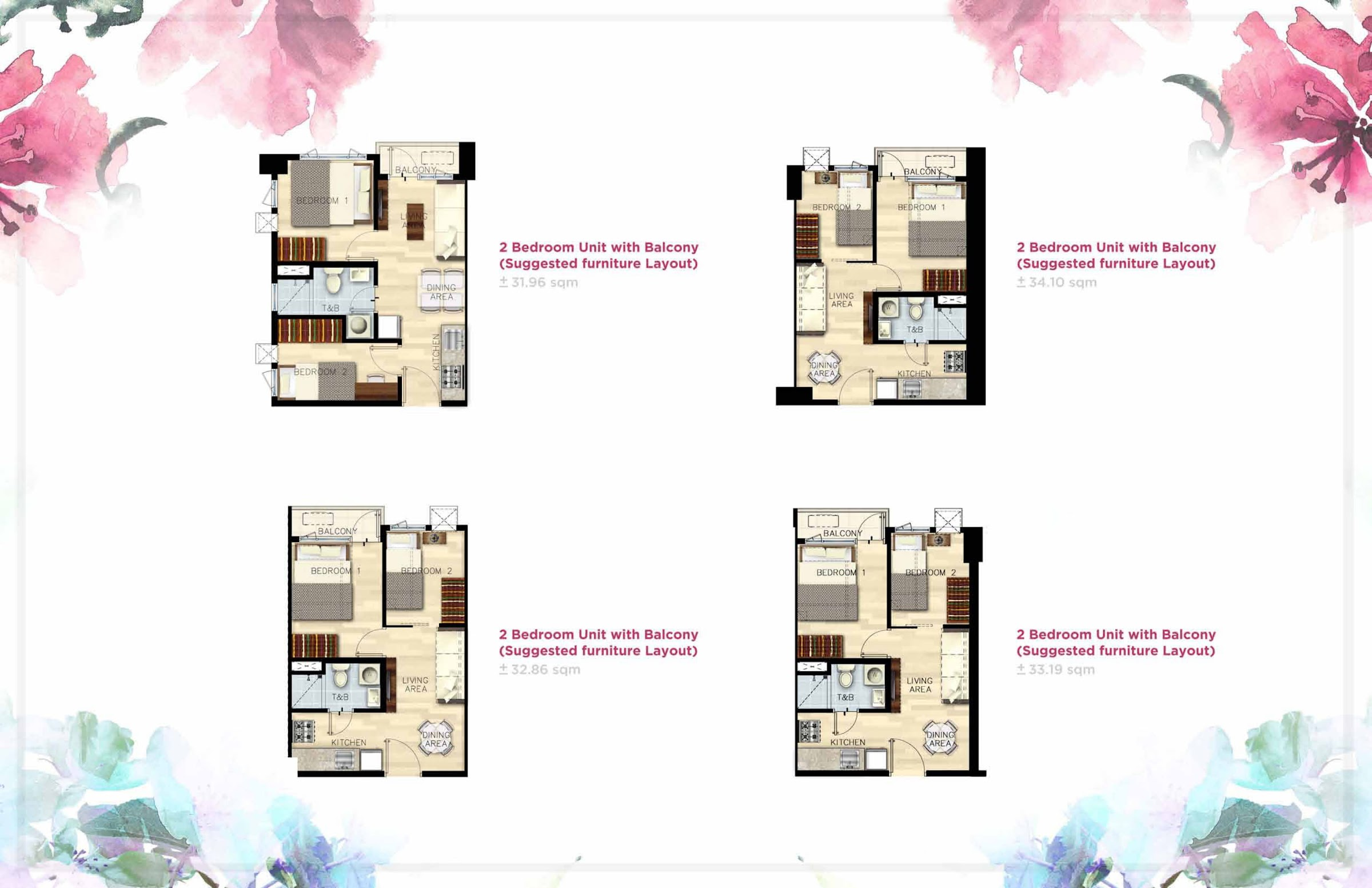 Bloom Residences, Sucat, Paranaque City 2 bedroom unit plan