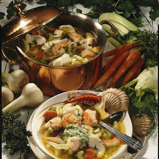 Seafood Soup with Thyme Pesto.