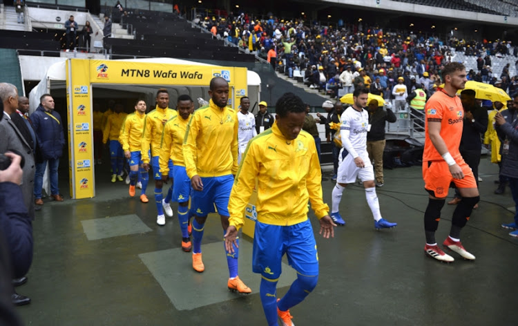 A view of Sundowns players prior the MTN8 semi final 1st Leg match between Cape Town City FC and Mamelodi Sundowns at Cape Town Stadium on August 25, 2018 in Cape Town, South Africa.