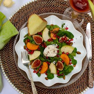 Fall Fruit Goat Cheese Salad with Honey Apple Vinaigrette.