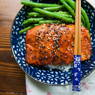 Ginger And Sesame Glazed Salmon With Sauté Green Beans.