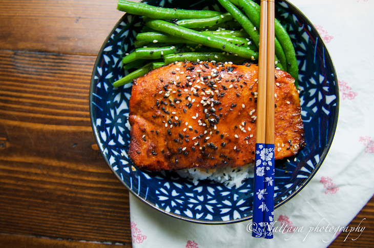 Ginger And Sesame Glazed Salmon With Sauté Green Beans Recipe ...