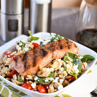 Salmon with Spinach and Tomato Orzo.