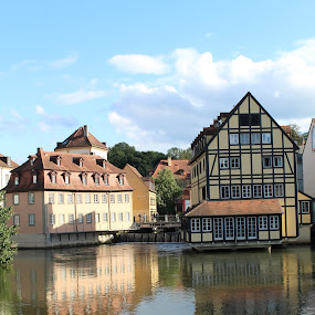 Bamberg Reflections by Ashley Rolland - Buildings & Architecture Other Exteriors ( water reflection, reflection, bamberg, german, germany, lake, house, architecture, historic, waterway, river,  )