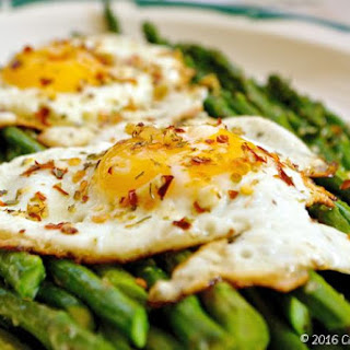 Roasted Parmesan Asparagus with Italian Herb Crispy Fried Eggs