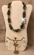 Photo: <BEREHYNYA> {Great Goddess Protectress} unique one-of-a-kind statement jewellery by Luba Bilash ART & ADORNMENT  # 125 KAILANI/КАЙЛАНА (sea & sky) - chalcedony, labradorite, silver plate $110/set * Available at Oseredok Boutique, Winnipeg
