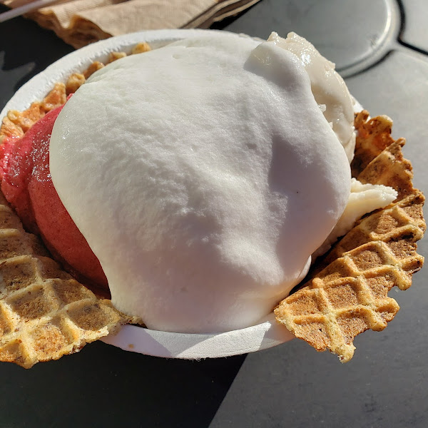 Strawberry beet and coconut honey ice cream and a gluten-free waffle bowl with whipped coconut cream