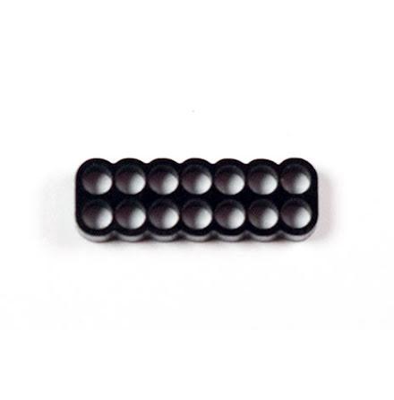 Kabelkam for 14 pins kabel, 2x7 Ø4mm hull, sort