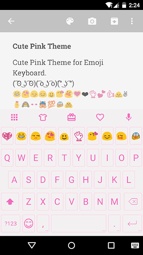 Cute Pink Emoji Keyboard Theme