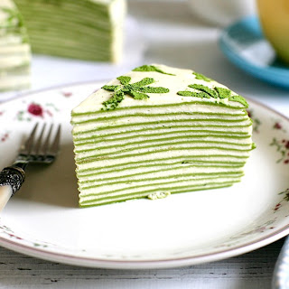 Matcha Mille Crepe Cake Recipe (Green Tea Flavoured Crepe Cake) (with Video) Recipe