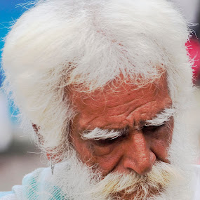Expression by Tridibesh Indu - People Street & Candids ( expression, sage, old, ganges, india, anguish, hermit, rishikesh, man,  )