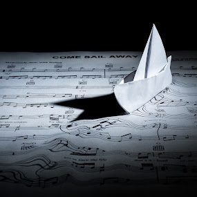 Come Sail Away by Curtis Jones - Artistic Objects Other Objects ( music, water, black and white, paper, sheet music, origami, boat, sailboat )