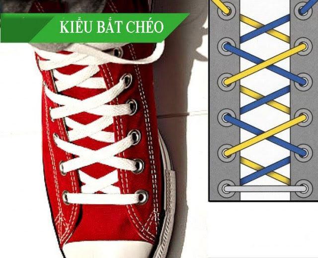 Cách thắt dây giày Vans theo kiểu buộc chéo 2