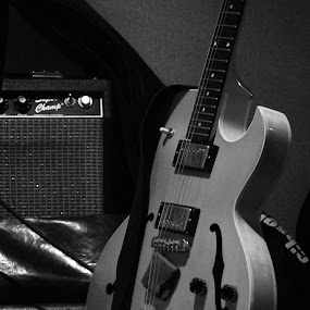Guitar by David Clare - Artistic Objects Musical Instruments ( music, black and white, guitar, instrument, blues,  )