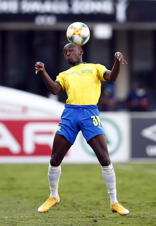 Peter Shalulile of Mamelodi Sundowns FC during the DStv Premiership 2020/21 game between AmaZulu and Mamelodi Sundowns at Kings Park Stadium on 21 April 2021.