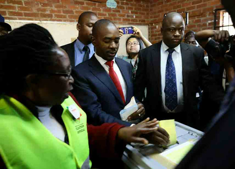 Nelson Chamisa, the leader of the MDC the main opposition party, casts his poll at a polling station in the Mbare district on July 30, 2018 in Harare, Zimbabwe. Zimbabweans are going to the polls to vote for a new president after Robert Mugabe, who led the country for 37 years, was deposed in November 2017.