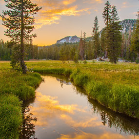 Kings Creek Sunset by Mike Lee - Landscapes Sunsets & Sunrises ( clouds, orange, mountain, nature, grass, green, sunset, outdoors, lassen park, scenic, recreation, hiking, hike,  )