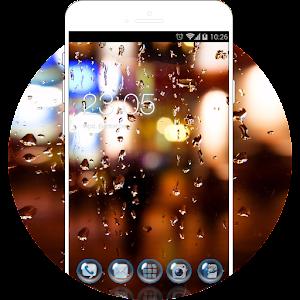 Raindrop Theme for J2 Ace: Neon Rainy Wallpaper